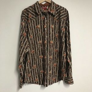 Guess Mens Pearl Snap Shirt Size XL Floral Striped Brown Ivory Orange